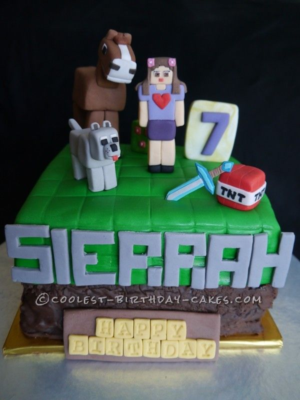 Minecraft Inspired Cake for Girls... This website is the Pinterest of birthday cake ideas