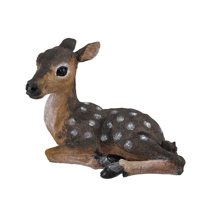 Lying Down Baby Deer Fawn Outdoor Statue 14 In., Brown (ABS), Outdoor Décor