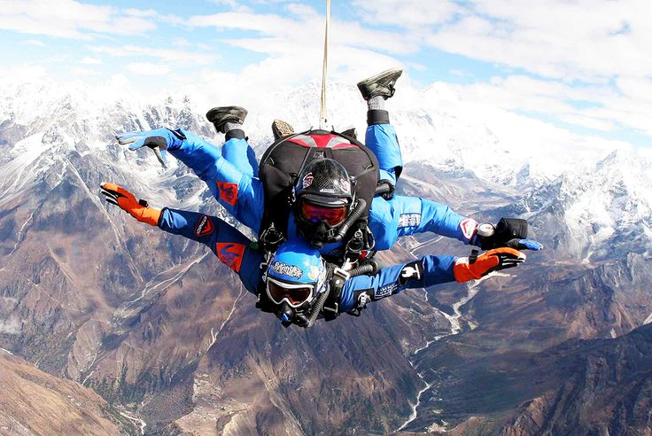 14 Adventures for the Daredevil in You via @MyDomaine Skydiving Over Mount Everest, Nepal  Why climb Mount Everest when you can fly? Everest Skydive not only takes you 29,000 feet over Mount Everest—the highest skydive in the world—but it also takes you into the heart of the Sherpa country. The adrenaline rush you get from your free fall is guaranteed to be unrivaled.