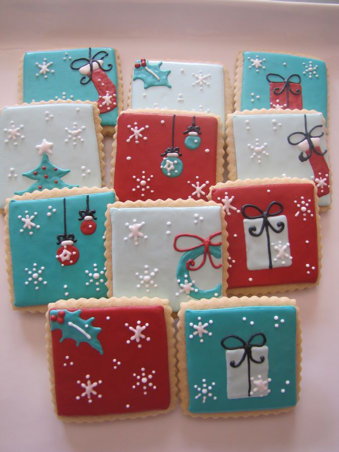 Set of scalloped square Christmas cookies, inspired by a set from Flying Pig Party Productions.  The color palette was inspired by a gift bag I found; kind of a retro feel.  Soft sugar cookies with a modified royal icing.  Happy Holidays!