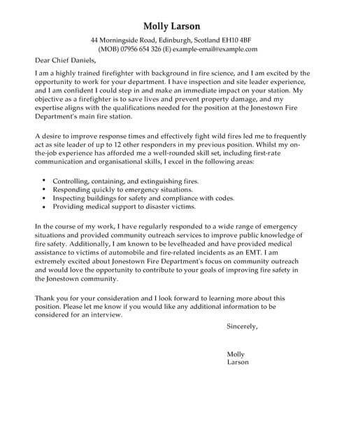 firefighter cover letter template