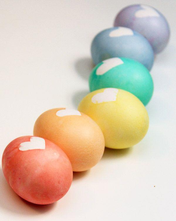 DIY heart easter eggs