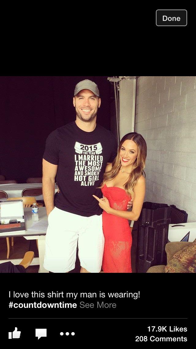Jana Kramer and her fiancé! LOVE the shirt!