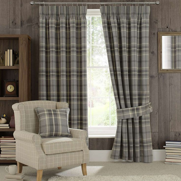 Dove Grey Highland Check Pencil Pleat Curtains | Dunelm