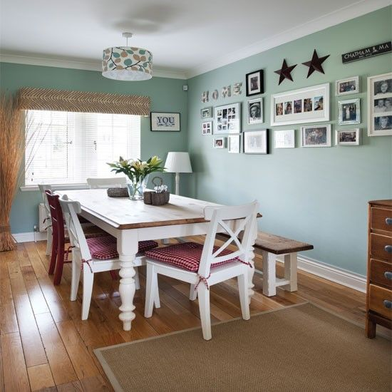 Pale Green Country Dining Room