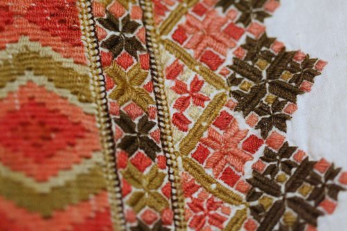 Evju-tunet -- detail of hand embroidery from a bunad (traditional folk costume), Telemarken district, Norway.