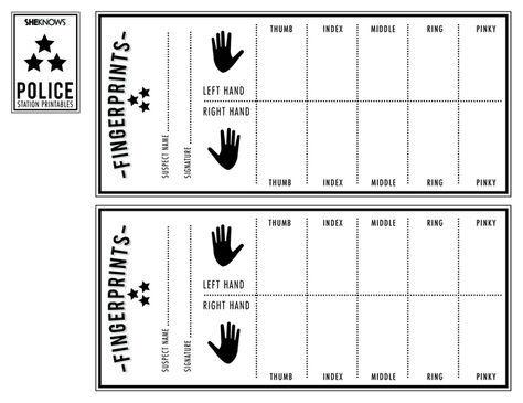 Police officer 39 s finger print sheet Free Printable