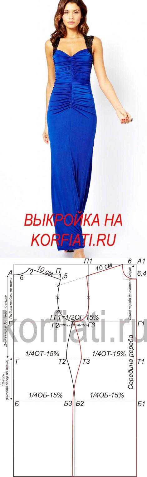 Построение выкройки платья из трикотажа  в пол от ШКОЛЫ ШИТЬЯ Анастасии Корфиати