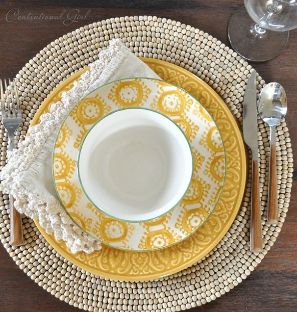add interest to your tabletop by layering texture + pattern with your place settings #worldmarketmakeover @Centsational Girl