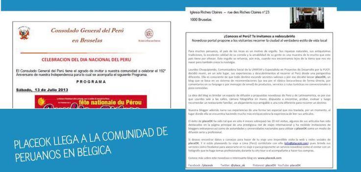 Estoy muy contenta porque gracias al boletín mensual del Consulado Peruano en Bruselas, placeOK llega a la comunidad de compatriotas peruanos que viven por allá. Gracias especiales a Alda Carrillo por este logro.