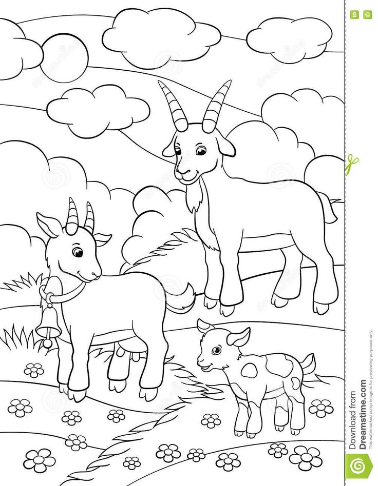 Coloring Pages Farm Animals Goat Family Stock Vector Illustration Of Contour Educati Farm Animal Coloring Pages Pumpkin Coloring Pages Family Coloring Pages