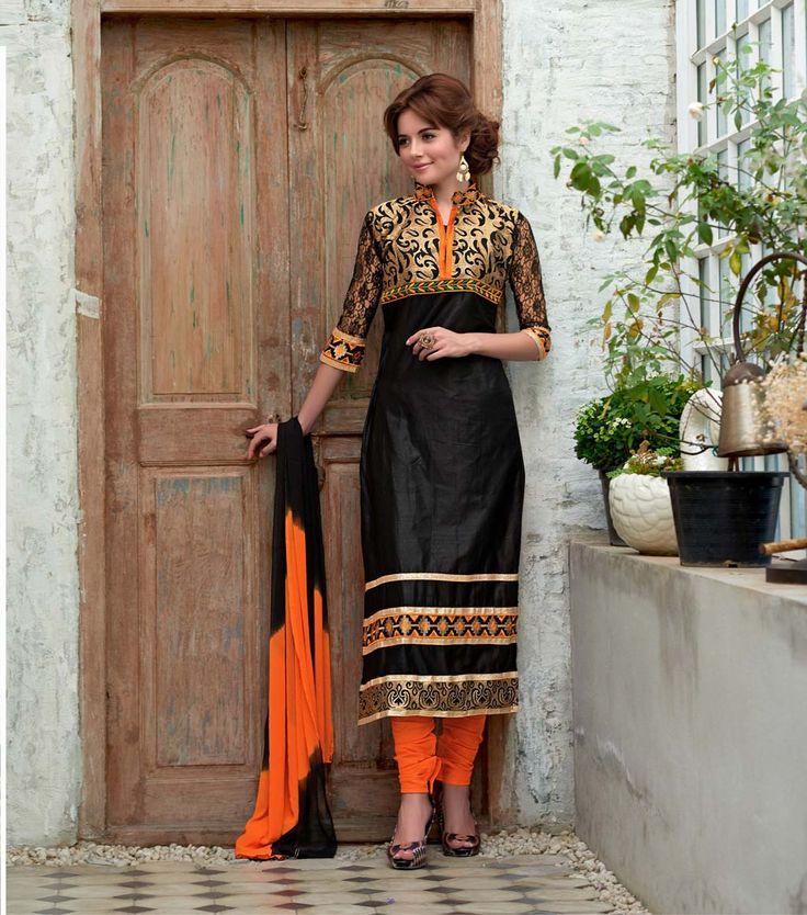 Black Cotton Pakistani Style Suit 60029