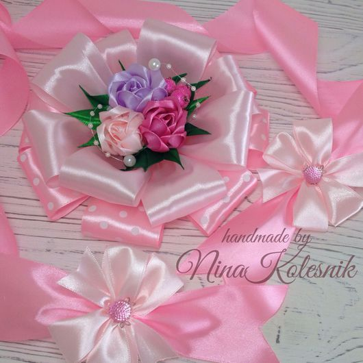 Для новорожденных, ручной работы. Ярмарка Мастеров - ручная работа. Купить Бант розовый для новорожденной на выписку из роддома. Handmade.