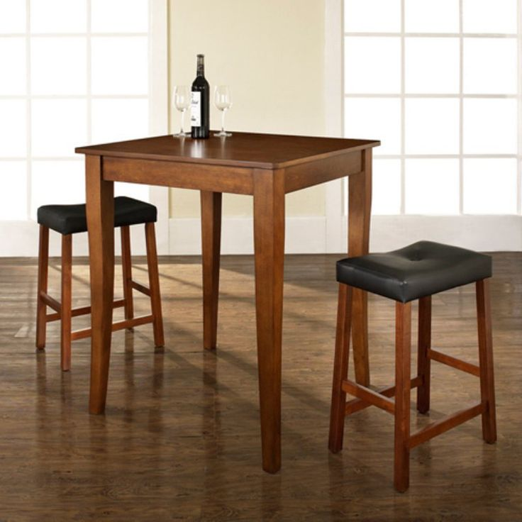 Crosley 3-Piece Pub Dining Set with Cabriole Leg and Upholstered Saddle Stools - KD320004CH