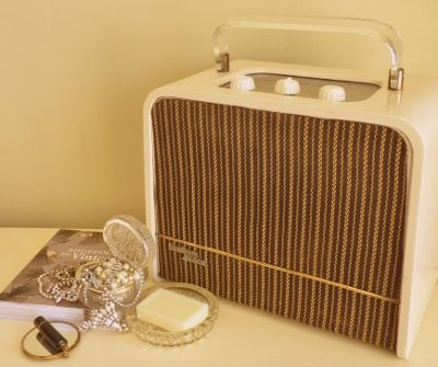 1956 Ever Ready Sky King portable radio. We like to call this one Audrey.  Modified mp3/iPod/Personal DAB amplifier only (FM tuner can be fitted as an optional extra.) £100 or £120 including tuner.