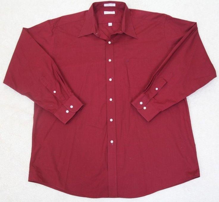 Pierre Cardin Dress Shirt 17.5 34/35 Red Cotton Poly Pocket XL Extra Large Men #PierreCardin #DressShirt