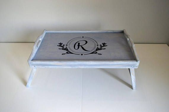Large Breakfast Tray Bed Tray Tray With Legs Initial Tray Personalized Serving Tray Blue Tray Decorative Tray Custom Tray Logo Tray A Blue Bed Tray It Is Pers