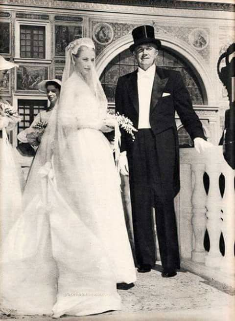 1956 - Grace Kelly and her Father on her wedding day to Prince Rainier of Monaco, becomes a real-life princess.