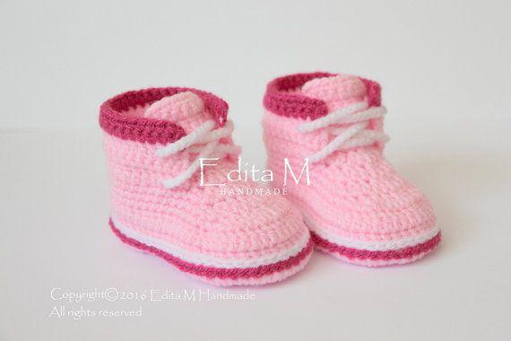 Crochet baby booties, baby shoes, boots, baby girl sneakers, pink, dark pink…