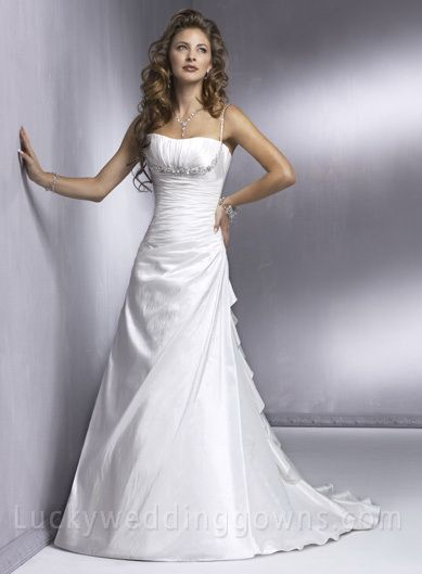 A-Line Princess Spaghetti Straps Chapel Train Wedding Dress