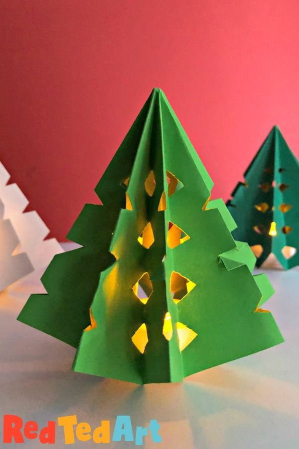 3d Paper Christmas Tree Luminary Red Ted Art Make Crafting With Kids Easy Fun Paper Christmas Tree Paper Crafts Christmas Paper Crafts