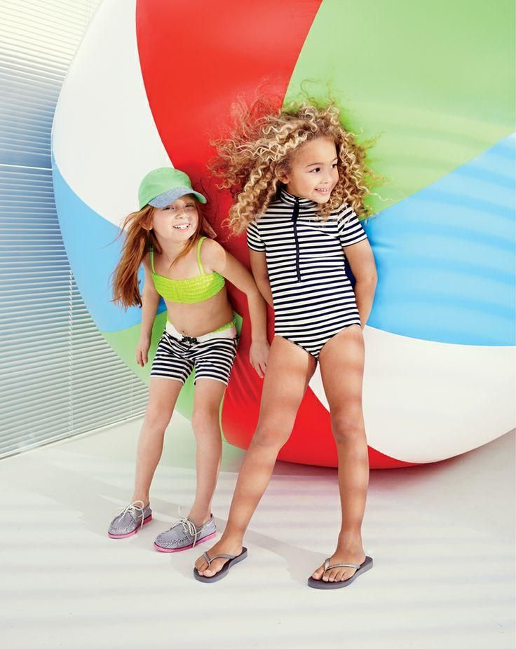 J.Crew Girls tiny frills bikini set, stripe board short, Kids' colorblock baseball cap, Sperry Top-Sider® for J.Crew Authentic Original 2-Eye Boat shoes in stripe, zip swimsuit in stripe, Havaianas® flip-flops.
