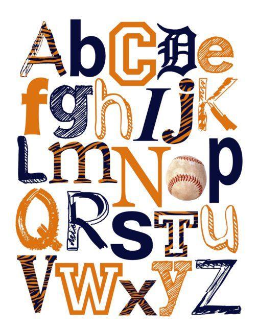Baseball Themed Nursery Decor: Detroit Tigers Baseball ABC Nursery Art Print