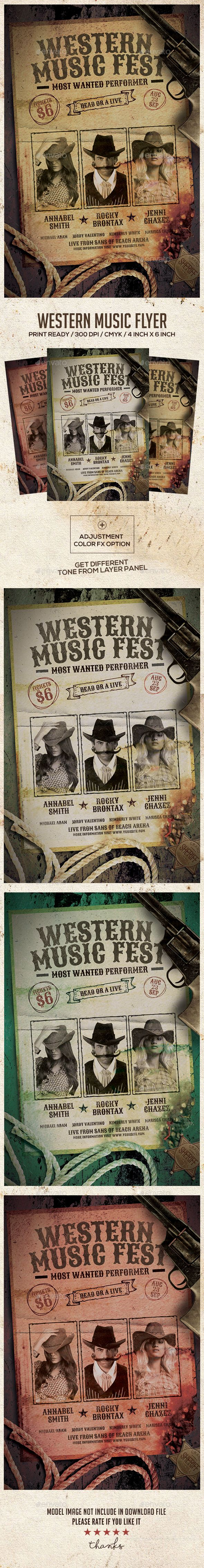 Wild West Country #Music Event #Flyer - Concerts #Events Download here:  https://graphicriver.net/item/wild-west-country-music-event-flyer/19553471?ref=alena994