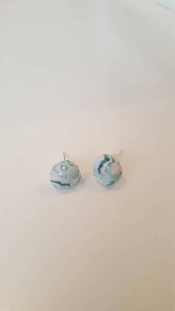 Check out this item in my Etsy shop https://www.etsy.com/au/listing/562899894/stud-earrings-marbled-effect-blue-and