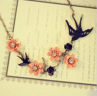Wholesale Product Snapshot Product name is Min.order is $15 (mix order) Retro Swallow Flowers Lucky Necklace Free Shipping X4099