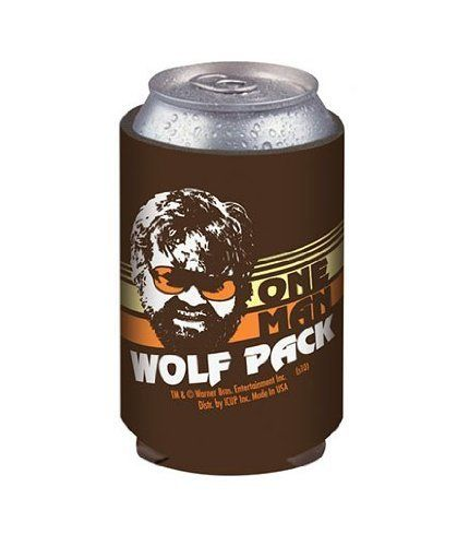 """The Hangover One Man Wolf Pack Can Cooler by ICUP. $6.85. Keeps cans and bottles cold!. Neoprene. From the Hangover Movie Collection. The Hangover One Man Wolf Pack Can Cooler. This retro style can cooler is perfect for keeping your drink cool on a night out on the town! Features Alan with his shades on and reads """"One Man Wolf Pack."""" Have yourself a night you'll never forget... or can't recall, with barware from the hilarious hit comedy The Hangover! Just remember, ..."""