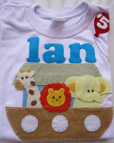 camisetinha  com aplicação em feltro da Arca de Noé especificar o tamanho e a idade para colocar no balãozinho R$ 65,00