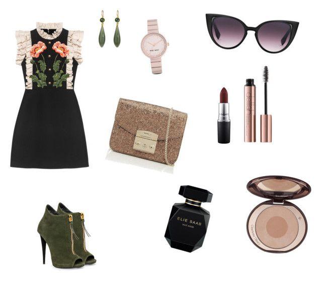 Pretty dark side by hilalozkan on Polyvore featuring moda, Gucci, Furla, Mallary Marks, Nine West, MAC Cosmetics, Charlotte Tilbury and Elie Saab