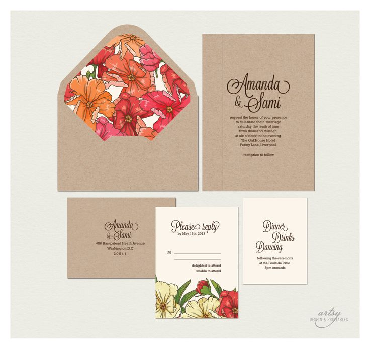 31 best wedding images on pinterest marriage invitation card rustic spring summer floral wedding invitations printable natural kraft card 4500 via stopboris Choice Image