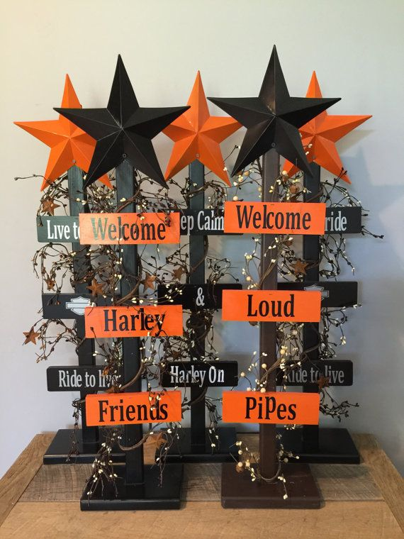 Harley Davidson welcome star tree home decor by BucksBarnWorks