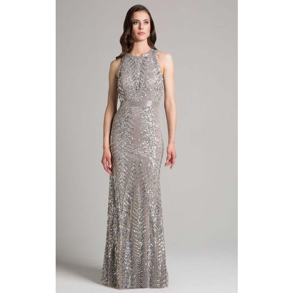 Lara 33260 Red Carpet Dress Long High Neckline Sleeveless ($378) ❤ liked on Polyvore featuring dresses, gowns, formal dresses, silver, evening dresses, long evening dresses, long evening gowns, long cocktail dresses and silver evening gowns