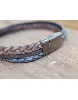 Ανδρικό Βραχιόλι Beige & Grey Braided Leather