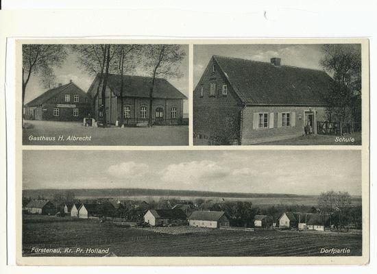 Fürstenau, Gasthaus H. Albrecht, Schule, Ortsansicht
