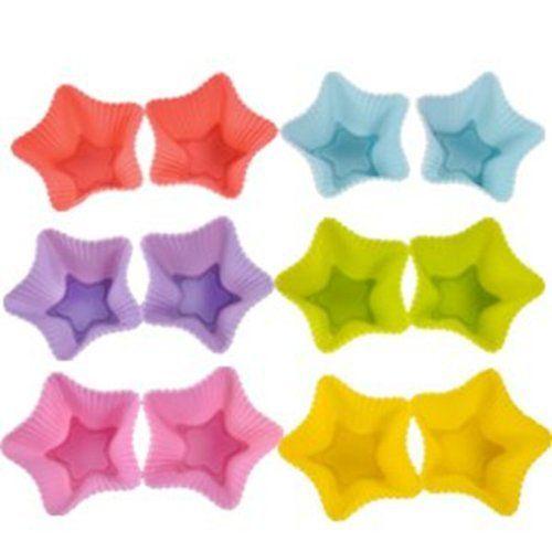 12er Set STERN Silikon Muffinform Muffinförmchen   10,-   Muffin Kuchen Cup 6 Farben Backform Rot, Gelb, Grün, Pink, Orange, Blau stabil und flexibel farbig , http://www.amazon.de/dp/9881483484/ref=cm_sw_r_pi_dp_Ss-atb08KTTAH