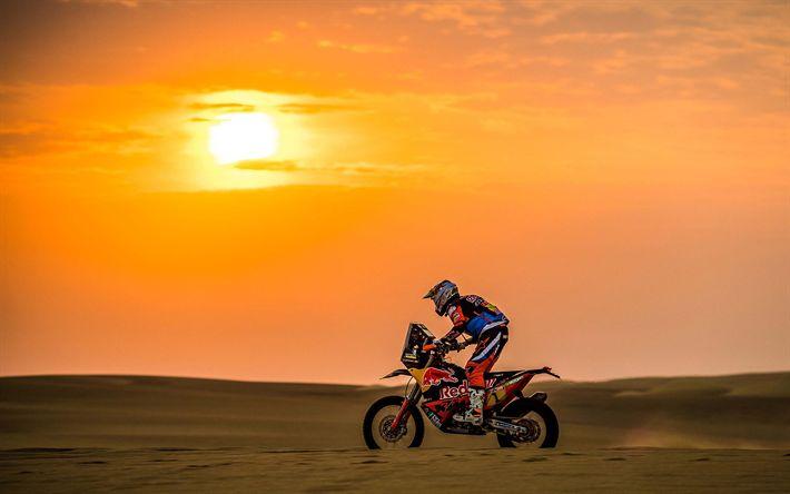 Télécharger fonds d'écran Sam Sunderland, 4k, rallye raid, 2018 vélos, Dakar, coureur, Red Bull KTM Rallye de Course d'Usine, Dakar 2018, la KTM 450 Rally Factory, KTM