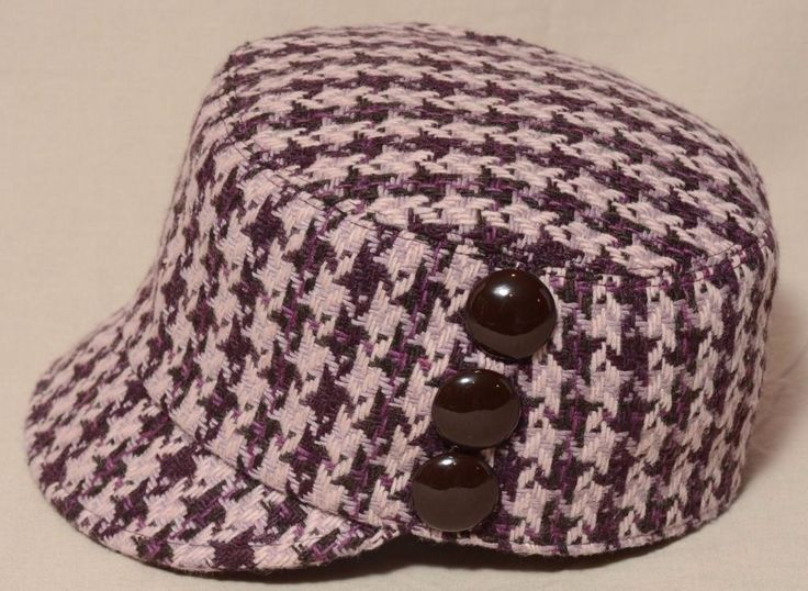 San Diego Hat Co Womens Purple Wool Hounds Tooth Cap 3 Brown Buttons Sz Small