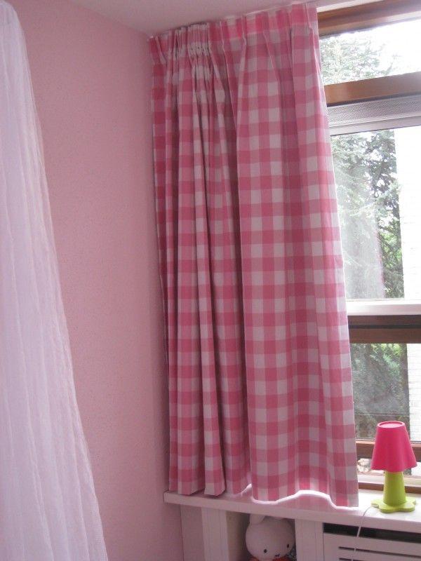 Gordijnen grote ruit roze | Voorbeeld gordijnen boerenbontruit | Naaizolder