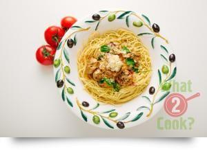 Chicken Meatball Spaghetti with basil tomato sauce