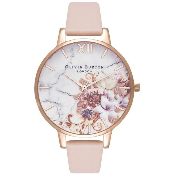 Olivia Burton Marble Floral Watch - Nude Peach & Rose Gold (885 SEK) ❤ liked on Polyvore featuring jewelry, watches, marble jewelry, rose gold jewellery, etched jewelry, pink gold jewelry and rose gold watches