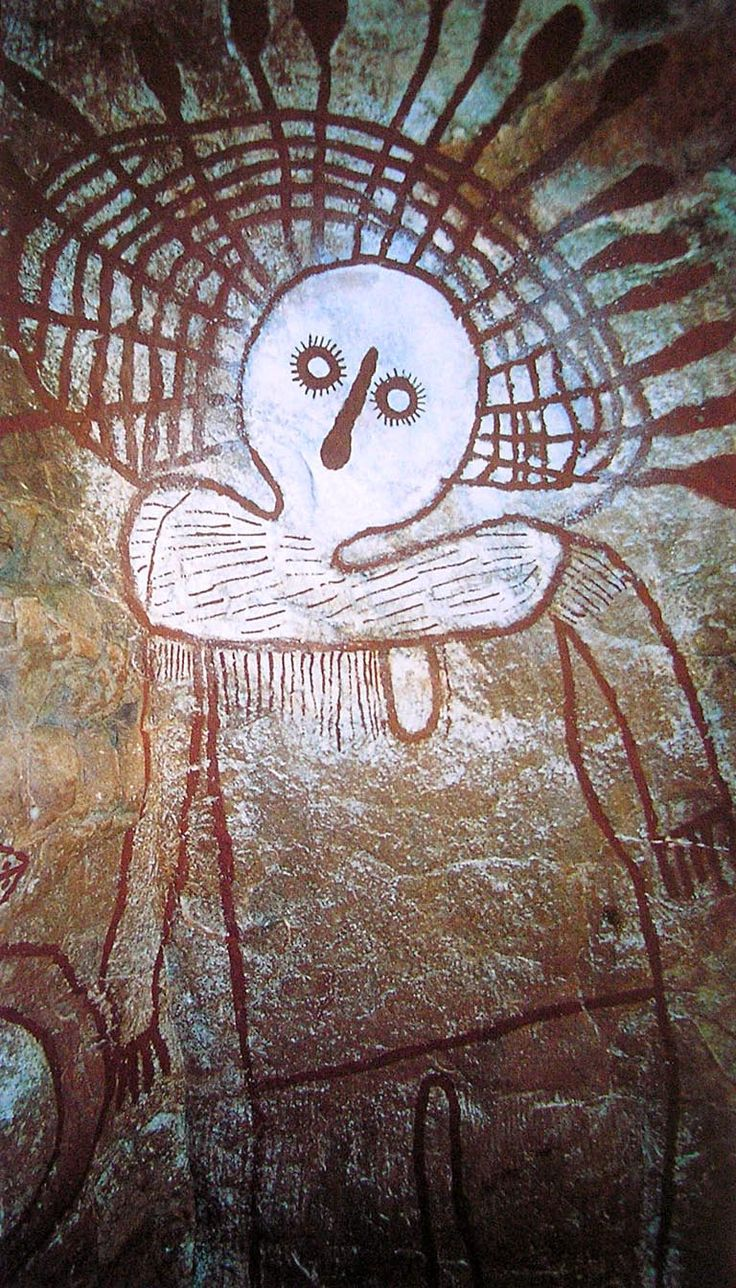 Namarali at the Karndirrim rock shelter after repainting by Donny Woolagoodja in April 2002