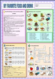 English teaching worksheets: Food and drinks