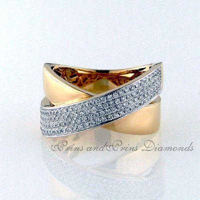 124 = 0.50ct Round brilliant cut diamonds set in 18k white and rose gold