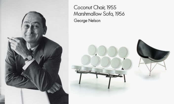Along with his good friends Charles & Ray Eames, George Nelson is one of the most influential designers of the 20th century. His Coconut Chair and Marshmallow Sofa are both available as a miniature.