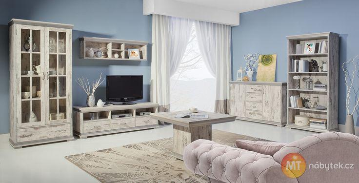 Rustikální nábytek do obývacího pokoje Modesto, dub