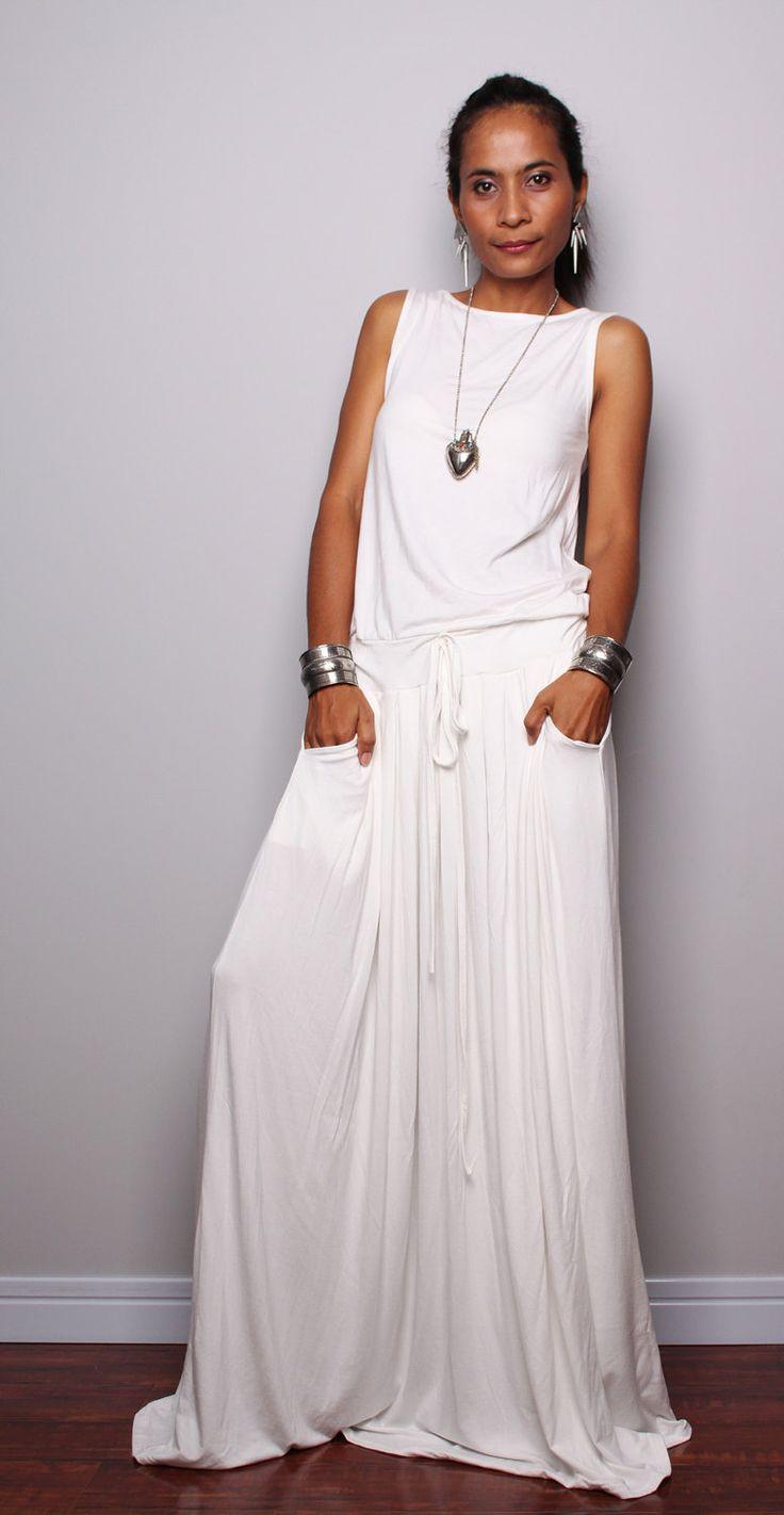 Off White Maxi Dress   Sleeveless dress  Autumn Thrills by Nuichan, $59.00